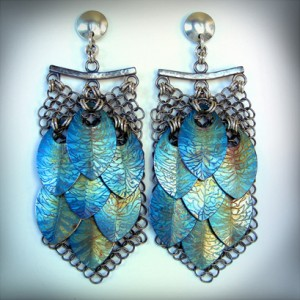 Titanium Fractal Scale Maille Earrings by Anne Kelly
