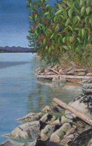 'Beach, Trincomali Side, Galiano' by Tish Saunders