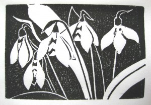 Flowers BlockPrint by Karen Muntean