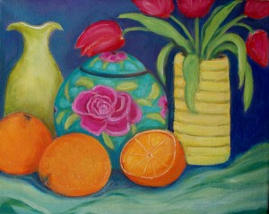 Still Life with Tulips & Oranges by Betsy Fairbrother